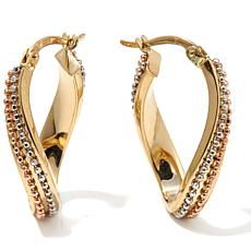 "Sevilla Gold™ 14K Tri-Tone ""Wave"" Hoop Earrings"