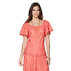 Slinky® Brand Lace Peasant Top