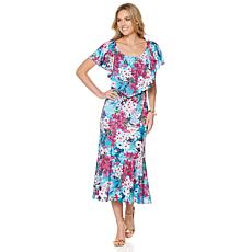Slinky® Brand Printed On/Off Shoulder Flounce Dress