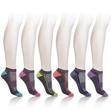 Sporto Half Cushion No Show Sock 6pk - Multi