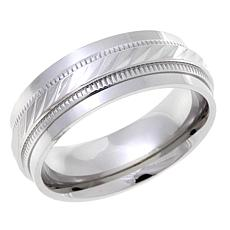 Stainless Steel 8mm White Textured Wedding Band