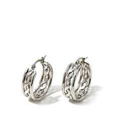 Stately Steel Braided Hoop Stainless Steel Earrings