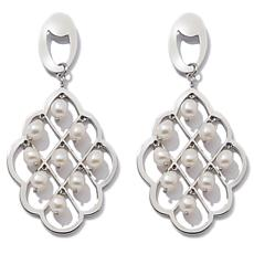 Stately Steel Cultured Freshwater Pearl Drop Earrings