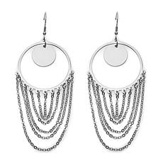 Stately Steel Round Fringe Drop Earrings
