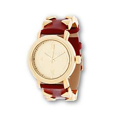 Steve Madden Pyramid-Accented Red Leather Strap Watch