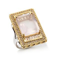 Victoria Wieck Rose Quartz and White Topaz 2-Tone Ring