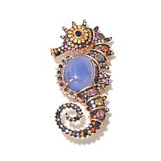 "Victoria Wieck ""Seahorse"" Chalcedony & Sapphire Brooch"