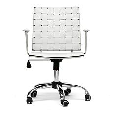 Vittoria White Leather Modern Office Chair