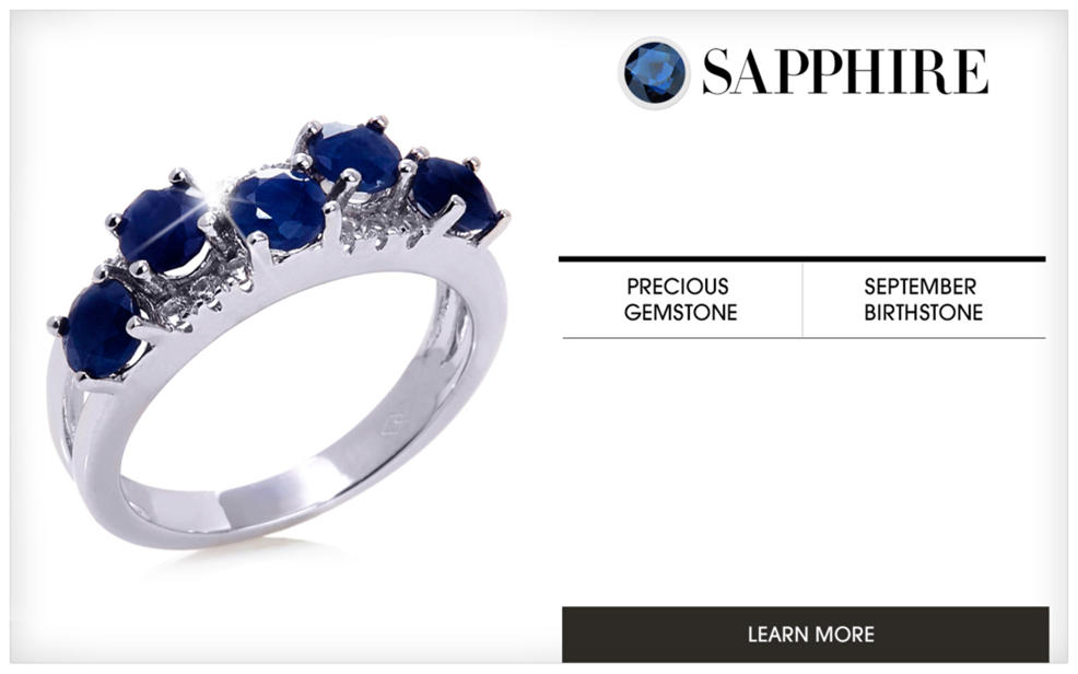 Sapphire. a silver ring decorated with blue gemstones. A precious gemstone and september birthstone. Learn More.