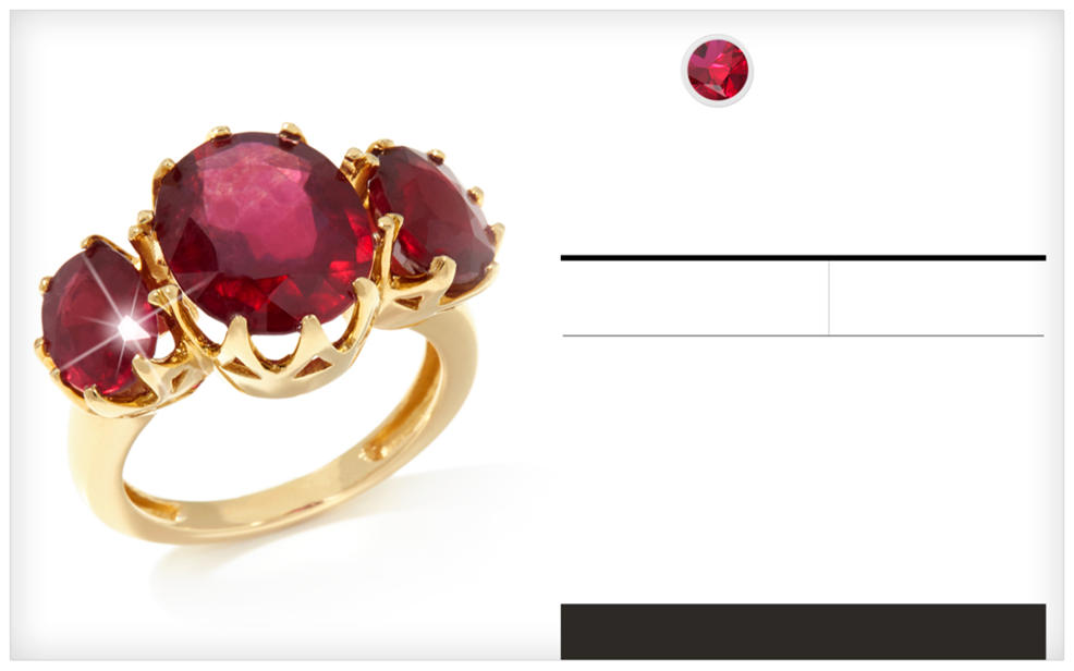 Ruby. A gold ring with three shining rubies.