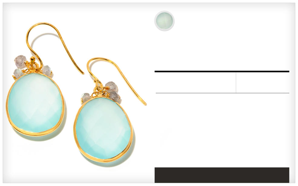 Chalcedony. a pair of golden earrings decorated with milky blue gemstones. A semi-precious gemstone and june birthstone. Learn More.