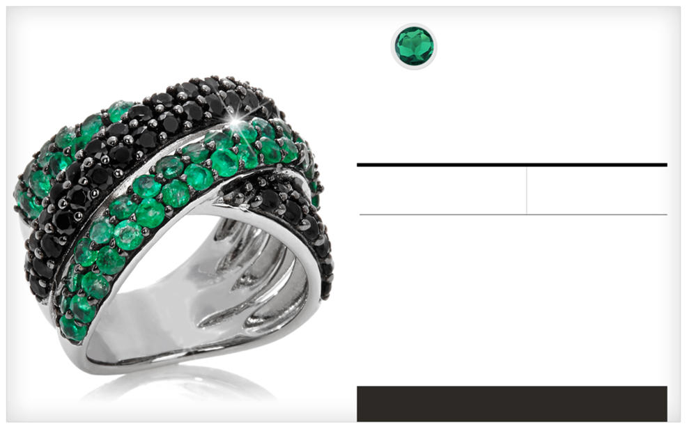 Emerald. precious gemstone. may birthstone. a silver right studded with emeralds
