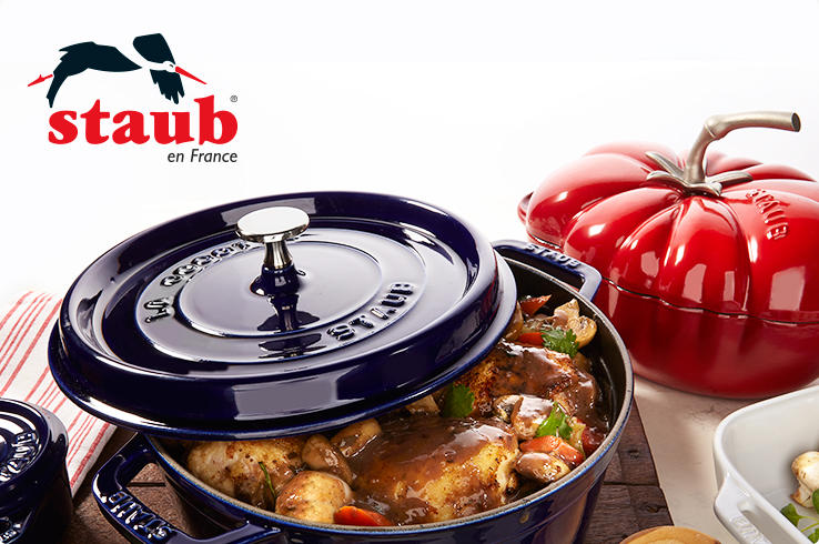 Staub en France cookware. Non-stick enamel interior. Oven safe to 500 degrees. Sear, Roast & Caramelize with cast-iron even heating.