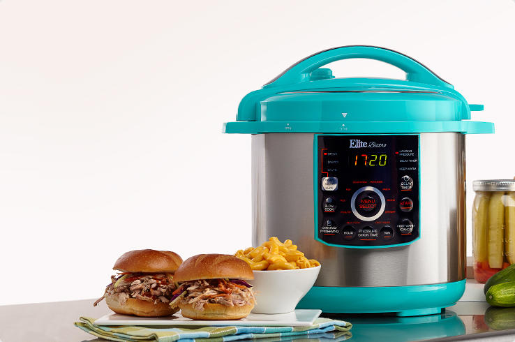 A Pressure Cooker with sliders and mac and cheese.