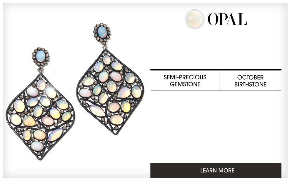 Opal. a pair of earring decorated with opal of several varied pale colors. A semi-precious gemstone and october birthstone. Learn More.