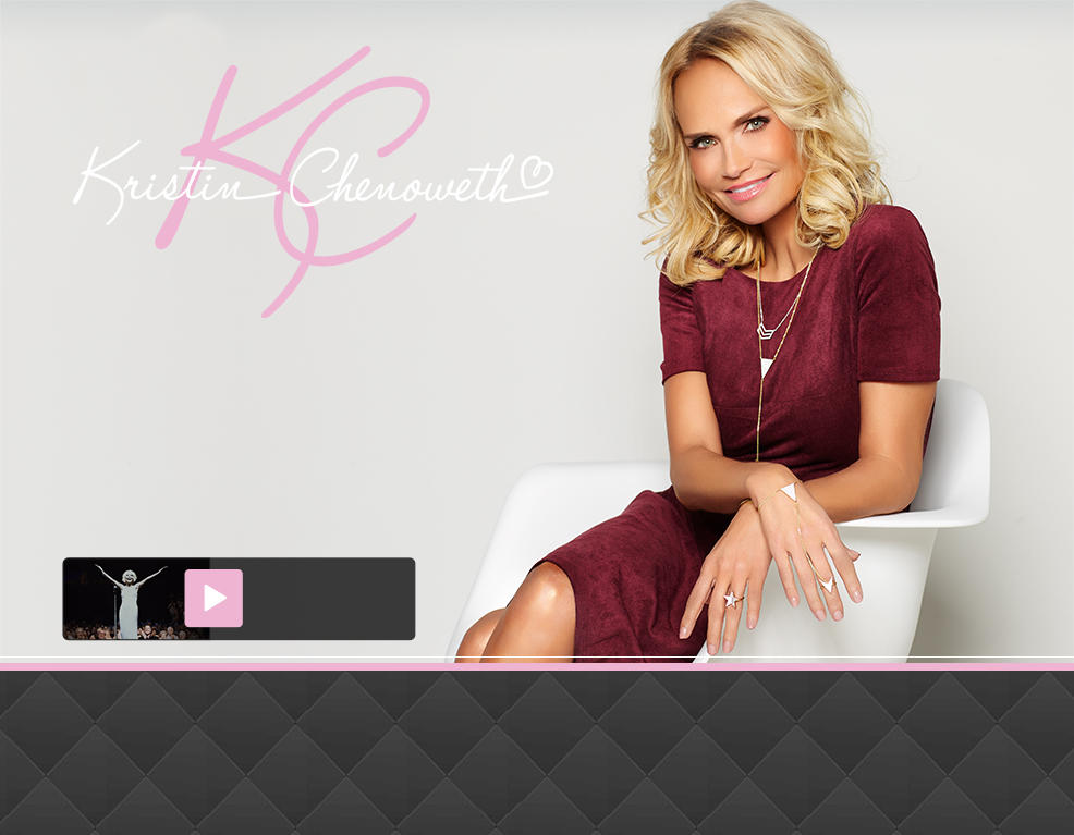 Kristin Chenoweth. Kristin is seated wearing a necklace, bracelet and ring decorated with geometric designs.