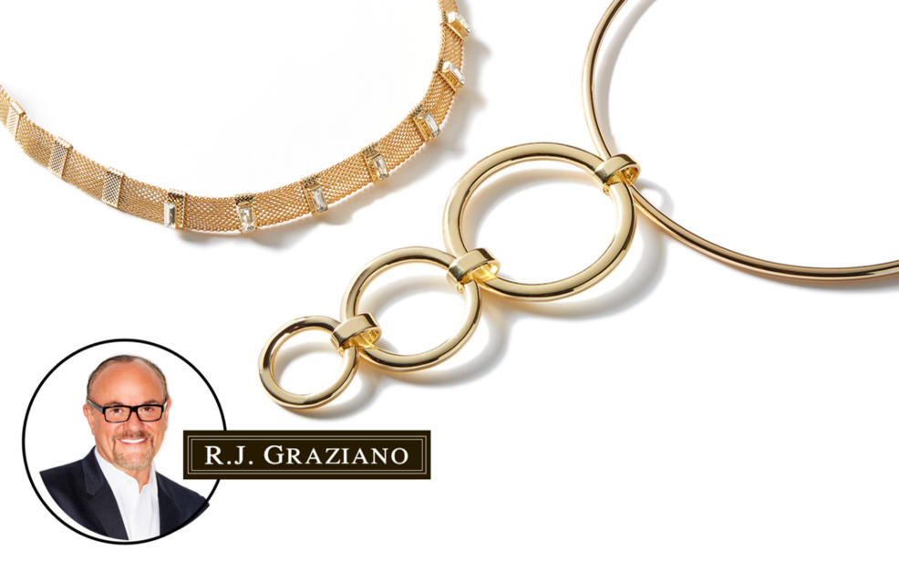 graziano lyst metallic j necklace rj ball product choker golden r normal jewelry in