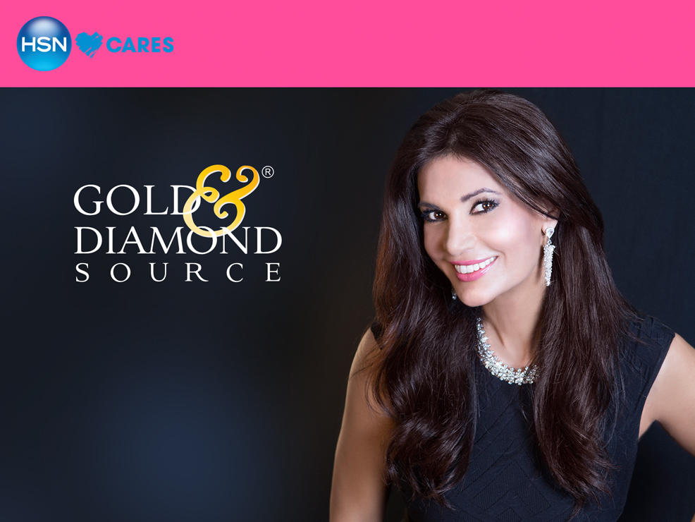 HSN Cares banner. Gold and Diamond Source. Julie Weintraub wears sparkling diamond jewelry
