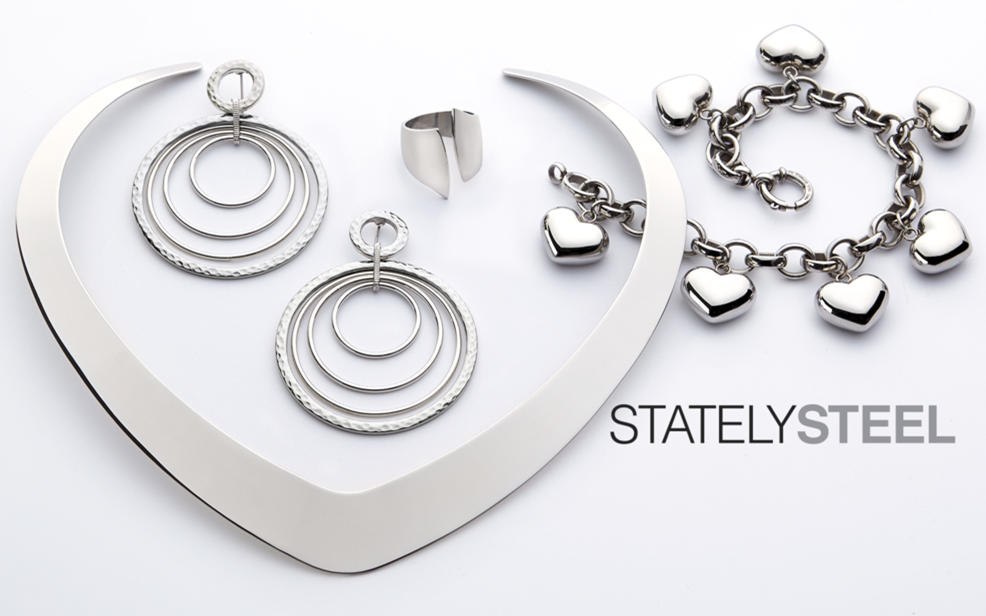 Stately Steel. A charrm bracelet, rings and earrings.