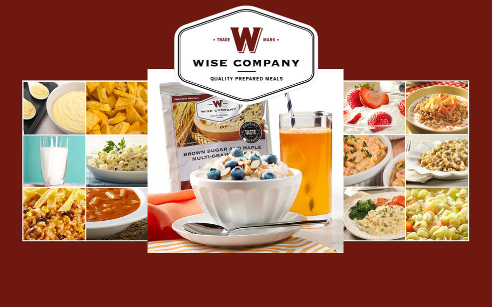 Trade mark W logo. Wise company. quality prepared meals. pictures of meals including a packet of brown sugar and maple multi-grain oats.
