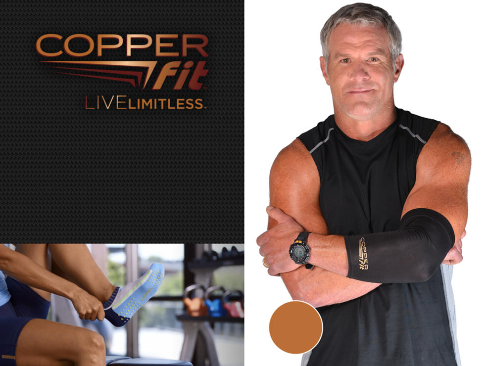 Copper fit Live Limitless. Brett Favre wearing a copperfit elbox brace. A man puts on copper fit socks.
