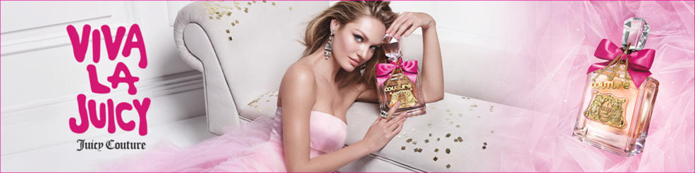 Viva la Juicy. Juicy Couture. A woman in crystal earrings holds a bottle of Juicy Couture perfume.
