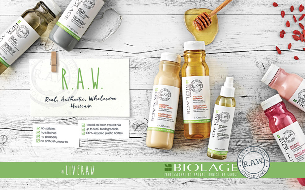 R.A.W. Real, Authentic, Wholesome Haircare. No sulfates. No silicones. No parabens. No artificial colorants. Tested on color-treated hair. Up to 99% biodegradable. 100% recycled plastic bottles. #liveraw Biolage. Professional by nature. Honest by choice.