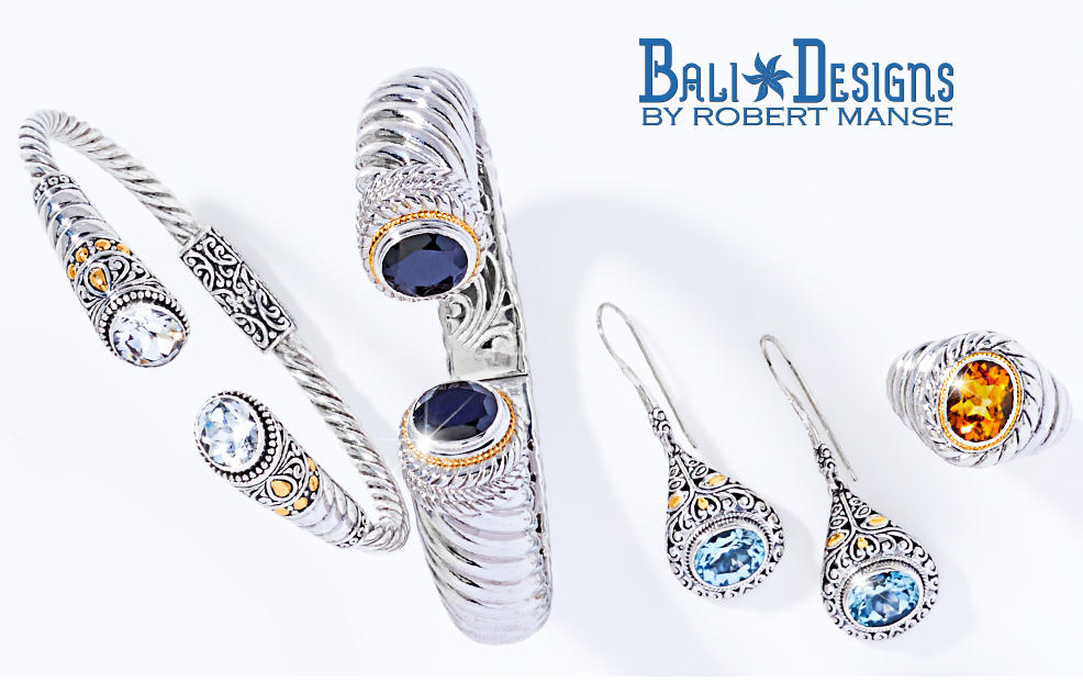 Bali Designs by Robert Manse. silver jewelry tipped with colored gemstones.
