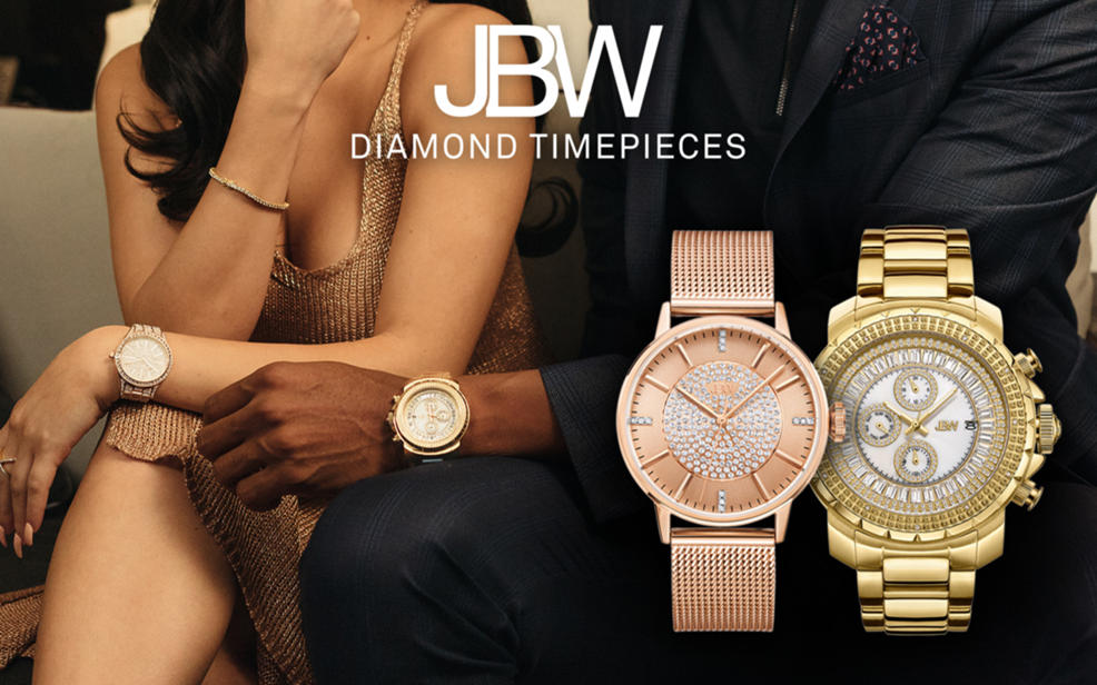 JBW Diamond Timepieces. Diamond decorated goldtone and rosestone watches.