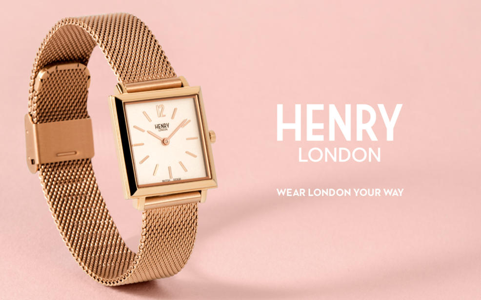 Henry London. wear london your way. a sleek square golden watch