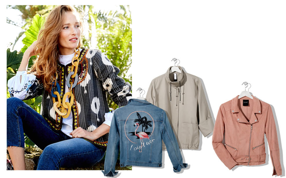 Woman wearing a giant wooden chain necklace and a jacket, and some other jackets