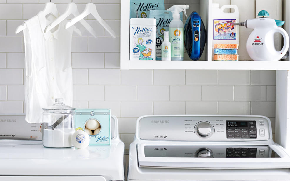 Washer and dryer and laundry supplies
