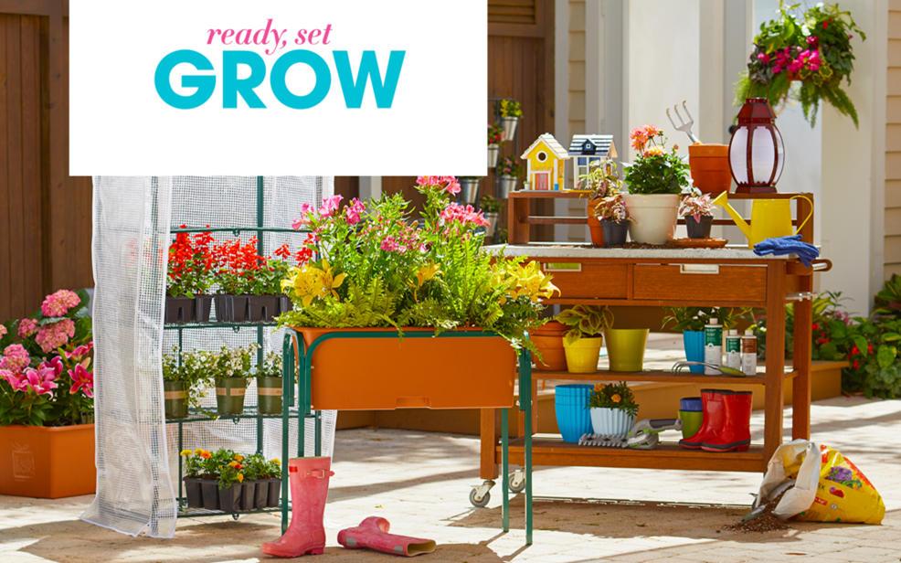outdoor garden. Multi-colored Flowers And Gardening Supplies. Outdoor Décor Garden