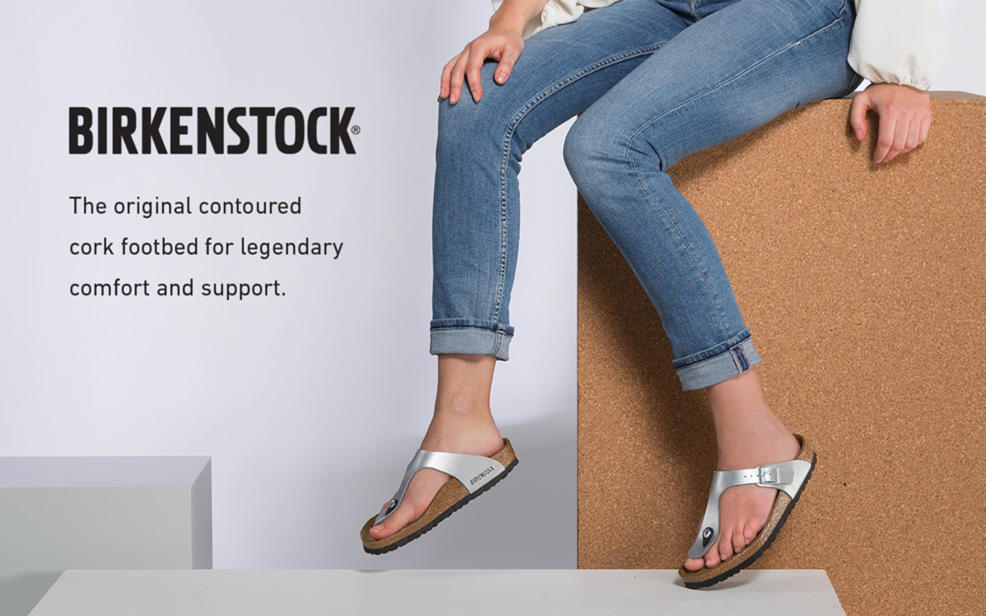 Birkenstock.The original contoured cork foot bed for legendary comfort and support.