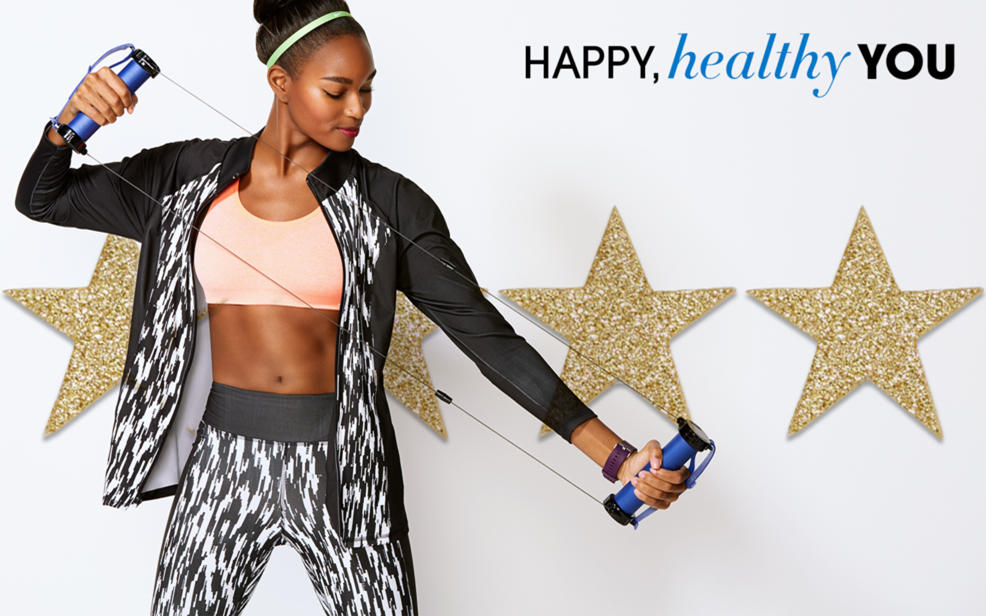 Happy, healthy you. A woman works out.