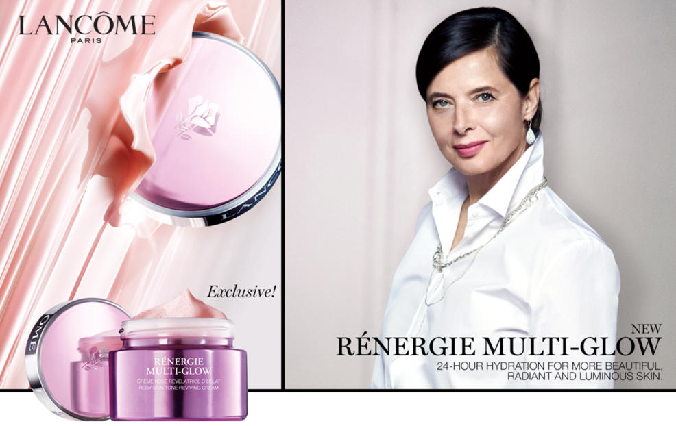 Lancome Paris. Exclusive! New Renergie Multi-Glow. 24-hour hydration for more beautiful, radiant and luminous skin.