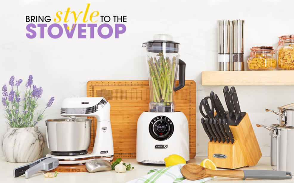 Bring Style To The Stovetop. A Blender, Kinfe Block, Garlic Press And A