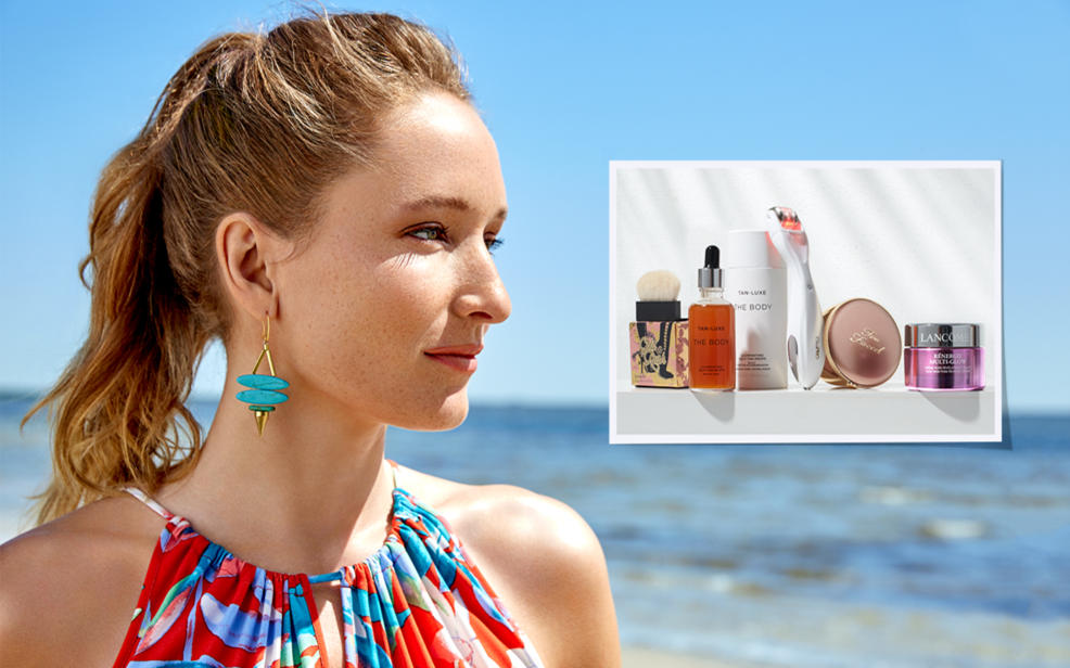 A woman with beautiful glowing skin with an inset image of skin products  .