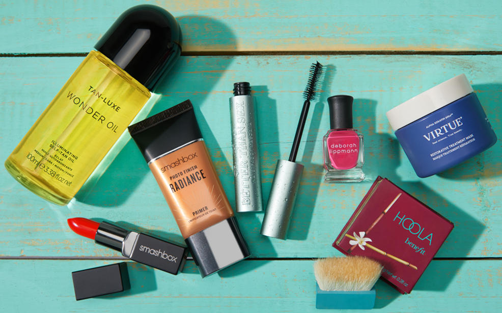 beauty makeup, nail polish, tanning oil, mascara, a cleansing mask.