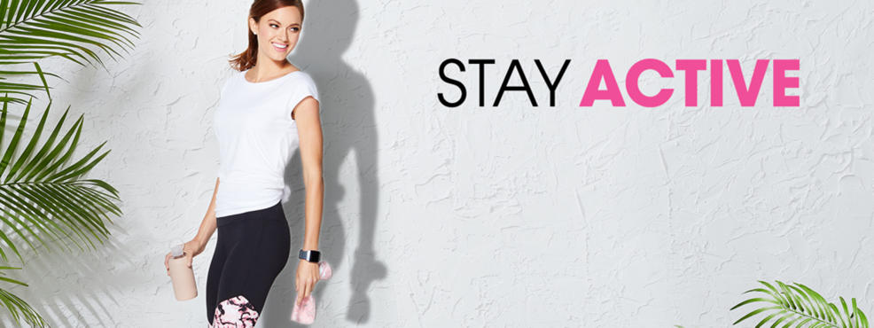 Stay Active. A woman wearing activewear and an apple watch. She also has a cooling towel and a water bottle.