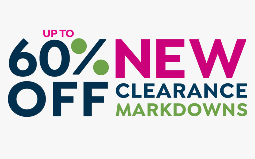 up to sixty percent off new clearance markdowns