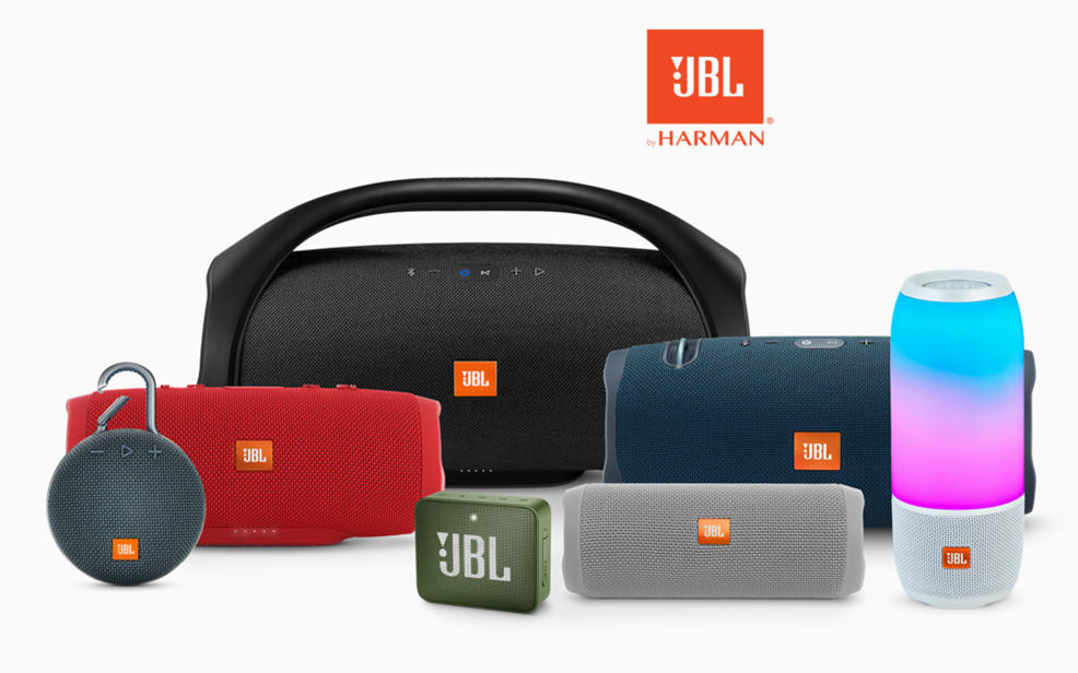 JBL by Harman. A variety of portable speakers.