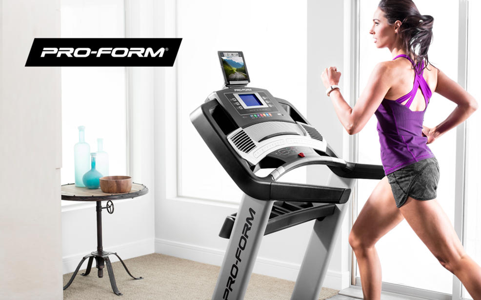 Pro-form. A woman jogs on a treadmill with a built in screen