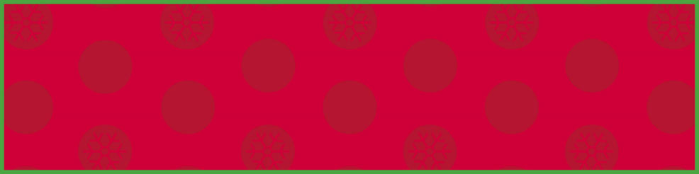 a red and green background decorated with dots and snowflakes.