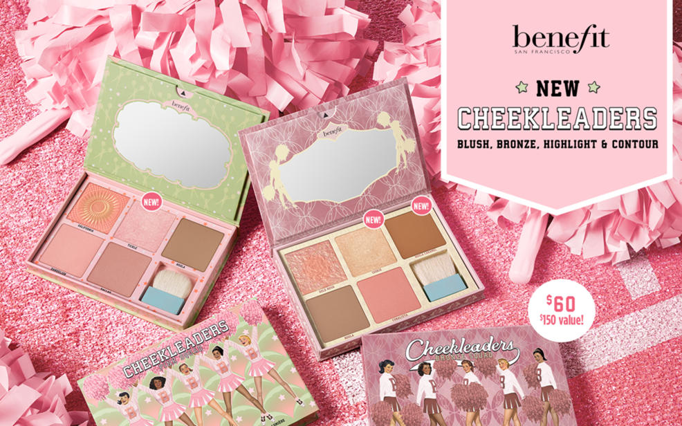 benefit san francisco. new cheekleaders. blush, bronze, highlight and contour. sixty dollars for a hundred and fifty dollar value.