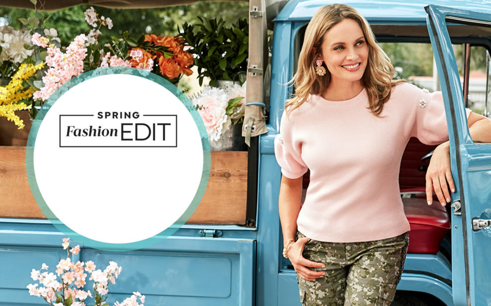 Spring Fashion Edit. a woman in a pink blouse and patterned leggings