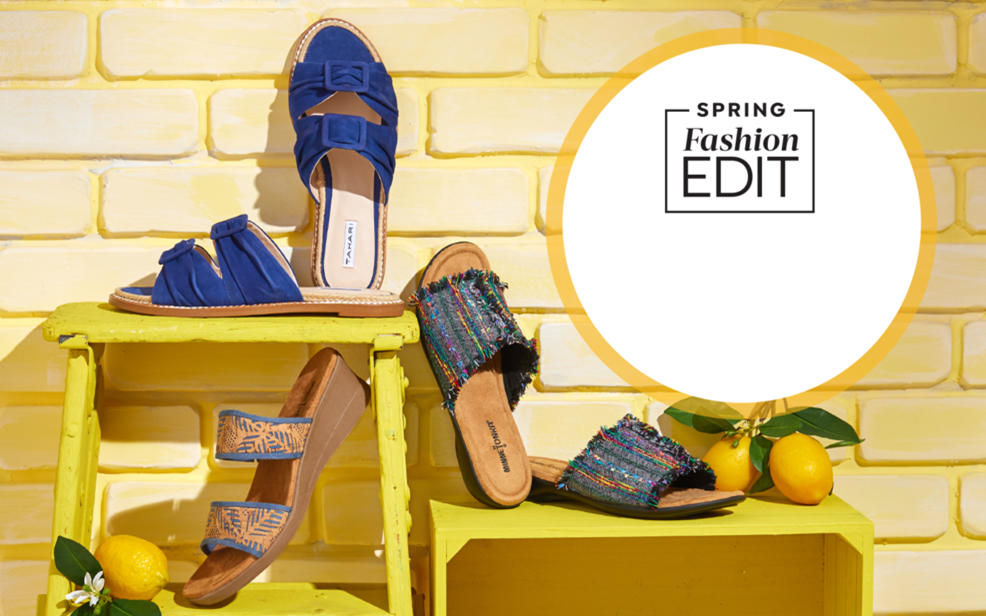 spring fashion edit. sandals in different colors and patterns