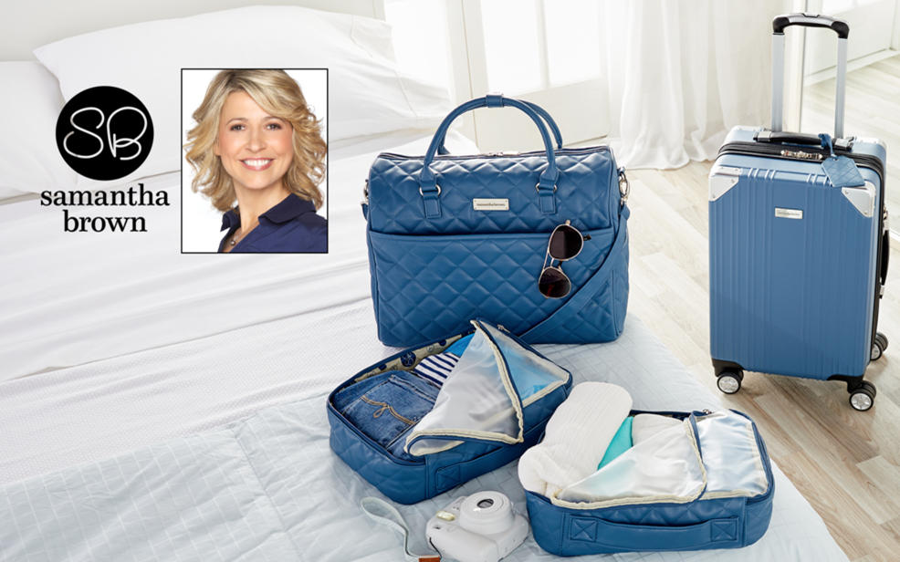Samantha Brown logo. Turquoise luggage.
