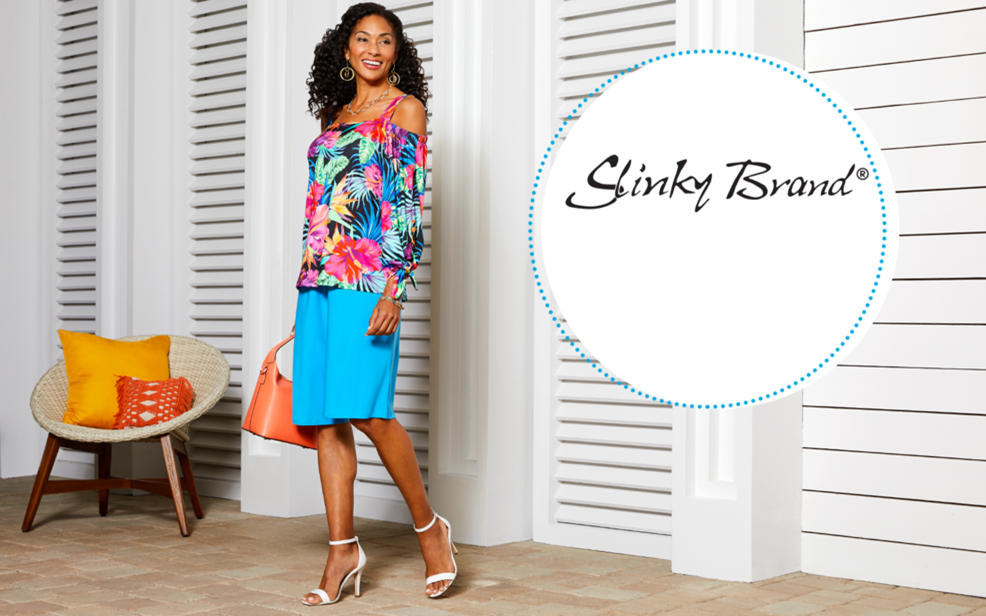 04f89f596e4 slinky brand. a woman in a floral blouse and blue skirt