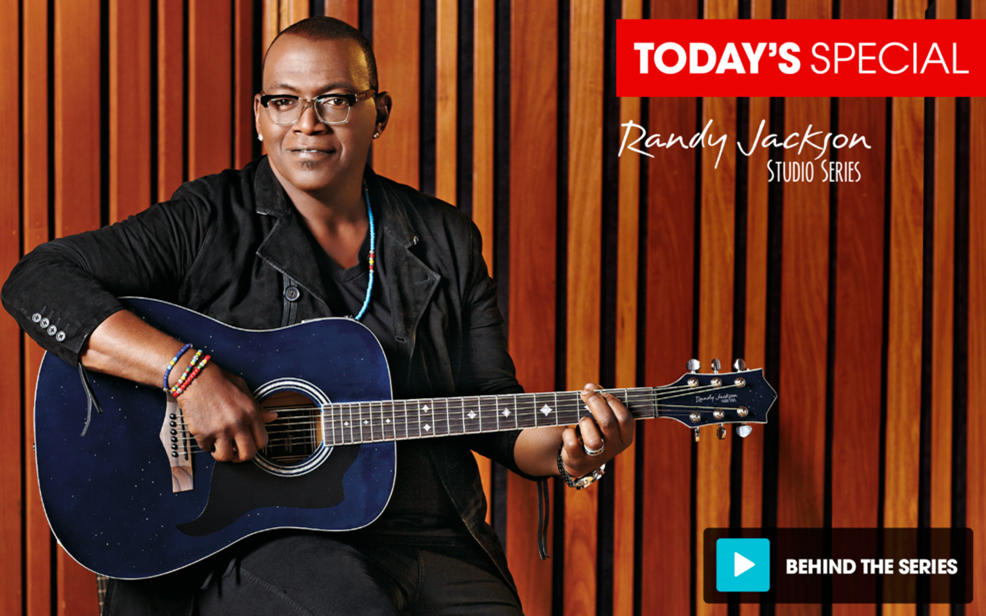 hsn randy jackson studio series premiere acoustic electric 23 piece guitar package with bonus. Black Bedroom Furniture Sets. Home Design Ideas